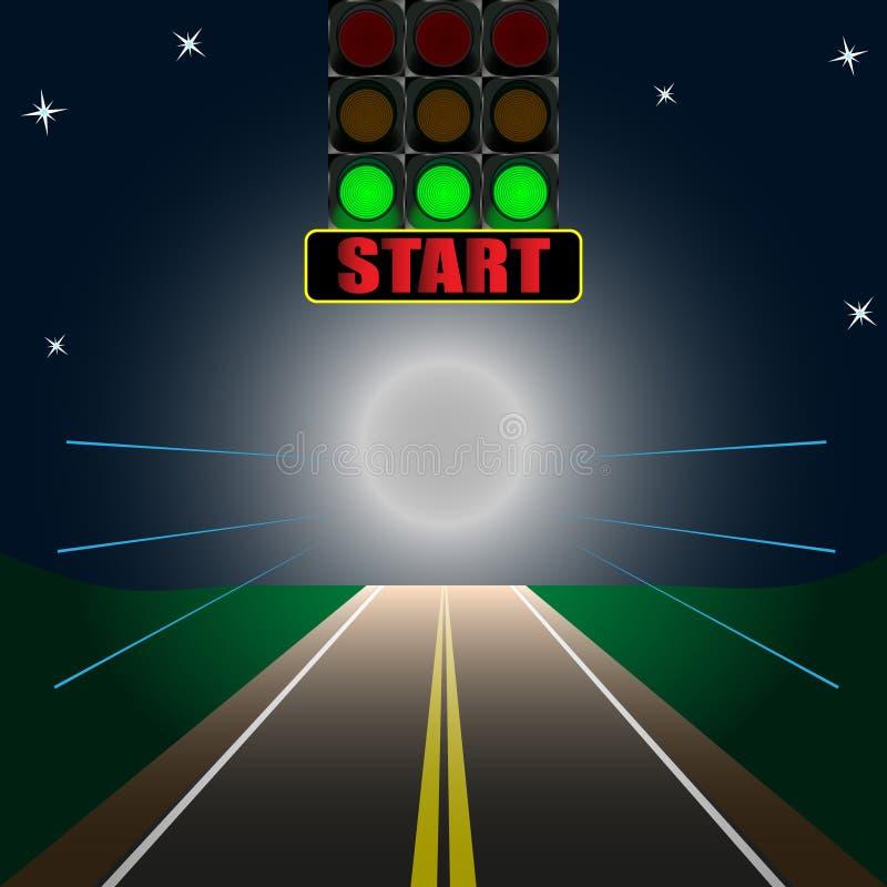Świecący tablica wyników początek na drodze ilustracji