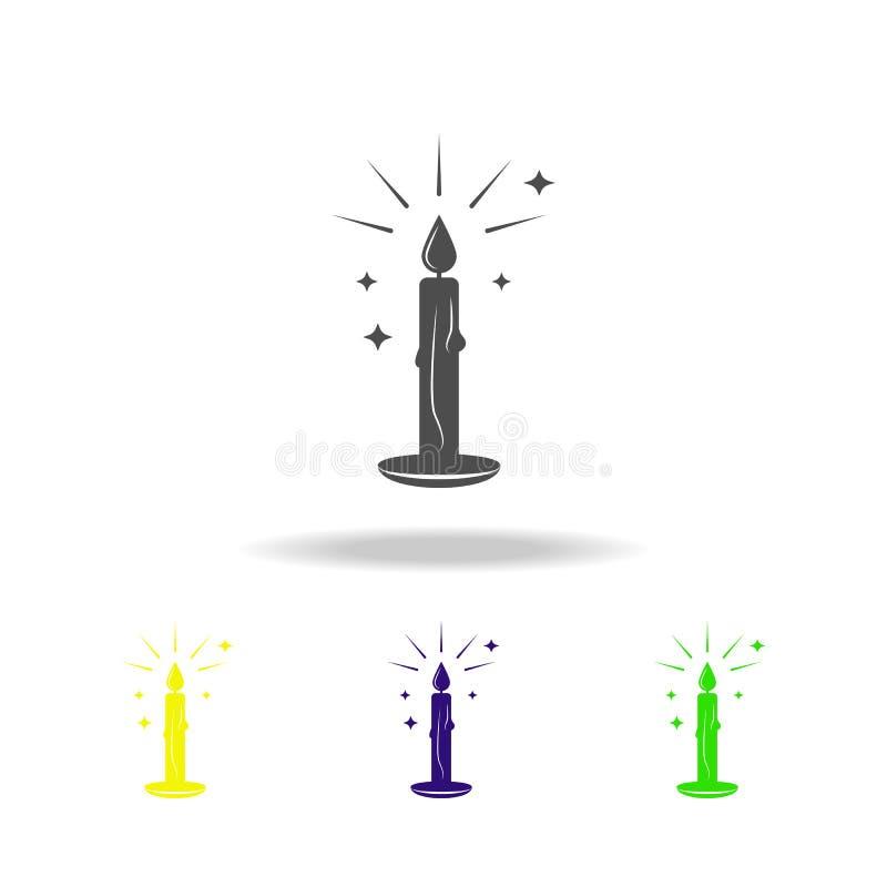 świeczka dla kabały stubarwnej ikony Element popularna magiczna ikona Znaki i symbol ikona mogą używać dla sieci, logo, ilustracja wektor