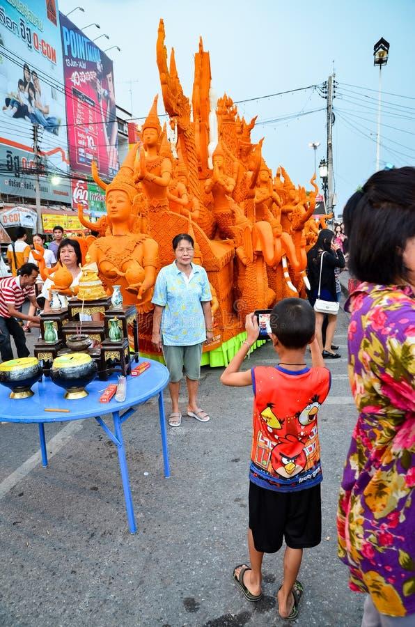 Świeczka festiwal roczny festiwal Nakhon Ratchasima zdjęcie stock