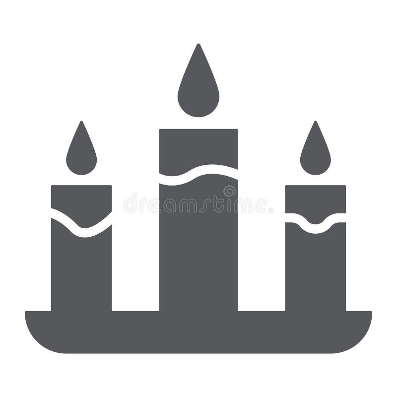 Świeczka glifu ikona, ogień i światło, blasku świecy znak, wektorowe grafika, bryła wzór na białym tle ilustracja wektor