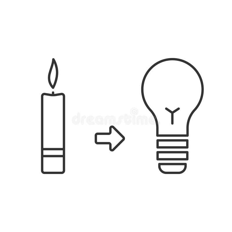 Świeczka i żarówka Zaświecać przedtem i teraz ilustracji