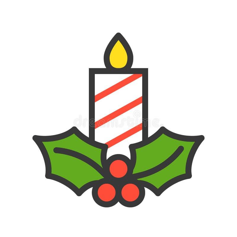 Świeczka i jemioła, Wesoło boże narodzenia odnosić sie ikona set, wypełniający o ilustracji
