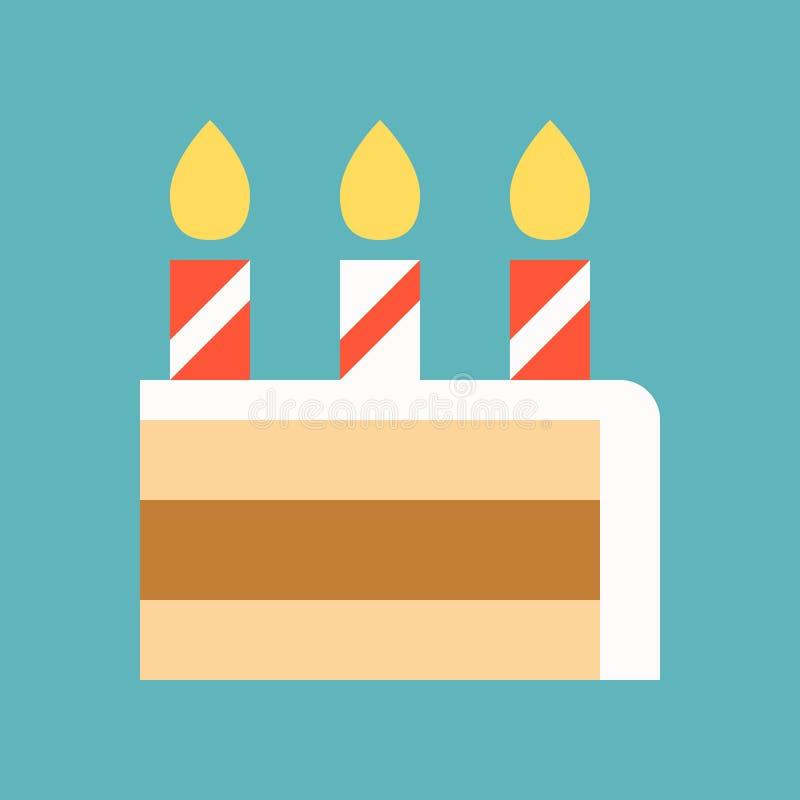 Świeczka i plasterek tort, cukierki i ciasto set, płaski projekta ico ilustracji