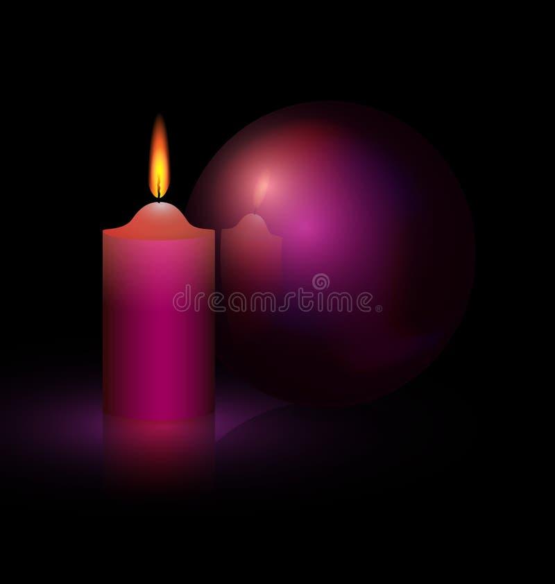 świeczka i purpury piłka ilustracja wektor