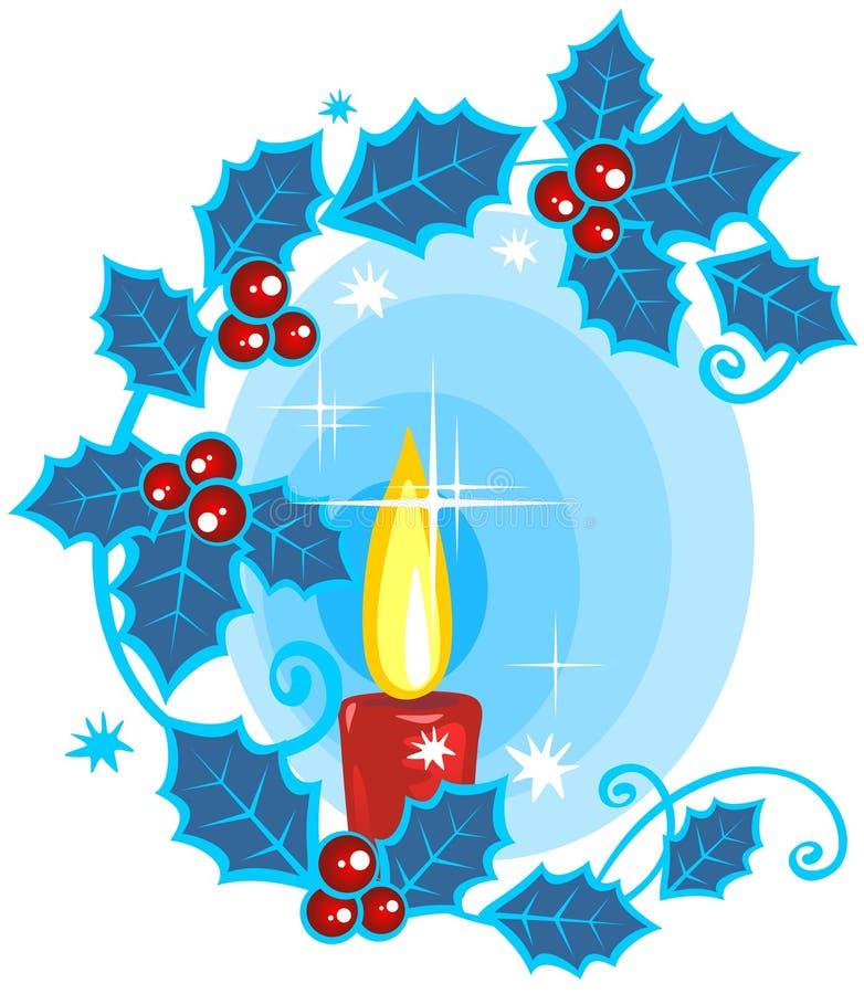 świeczka jagodowy holly ilustracja wektor