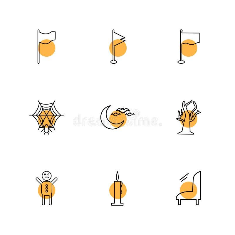 świeczka, kanapa, flaga, serca, kamera, pupil, flaga, eps royalty ilustracja