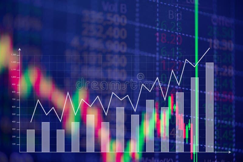 Świeczka kija wykresu mapa z wskaźnikiem pokazuje zwyżkowego punkt lub zdjęcia stock