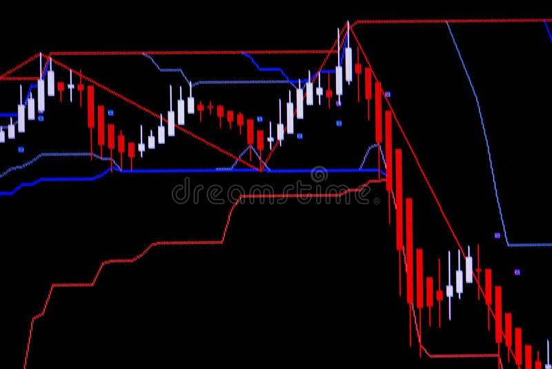 Świeczka kija wykresu mapa z wskaźnikiem pokazuje zwyżkowego punkt lub obraz stock