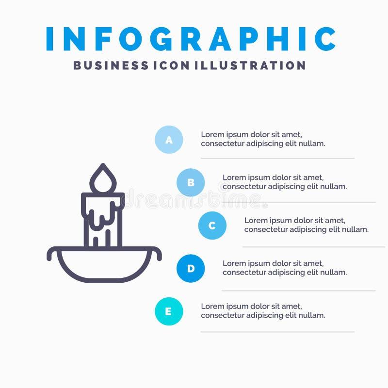 Świeczka, ogień, wielkanoc, wakacje Kreskowa ikona z 5 kroków prezentacji infographics tłem ilustracji