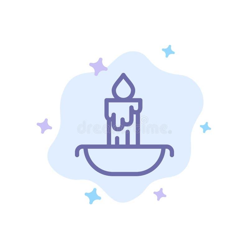 Świeczka, ogień, wielkanoc, Wakacyjna Błękitna ikona na abstrakt chmury tle ilustracji