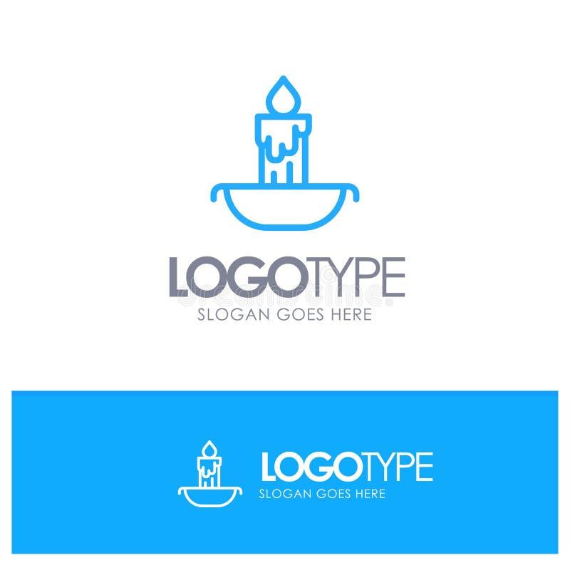 Świeczka, ogień, wielkanoc, Wakacyjny Błękitny konturu logo miejsce dla Tagline royalty ilustracja