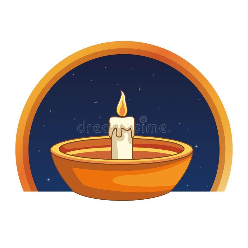 Świeczka w puchar kreskówce na round emblemacie royalty ilustracja