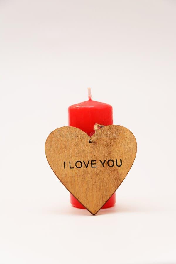 Świeczka z sercem na białym tle zdjęcie stock