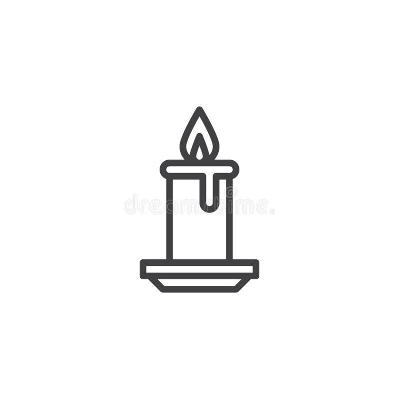 Świeczki światła oparzenie konturu ikona ilustracji
