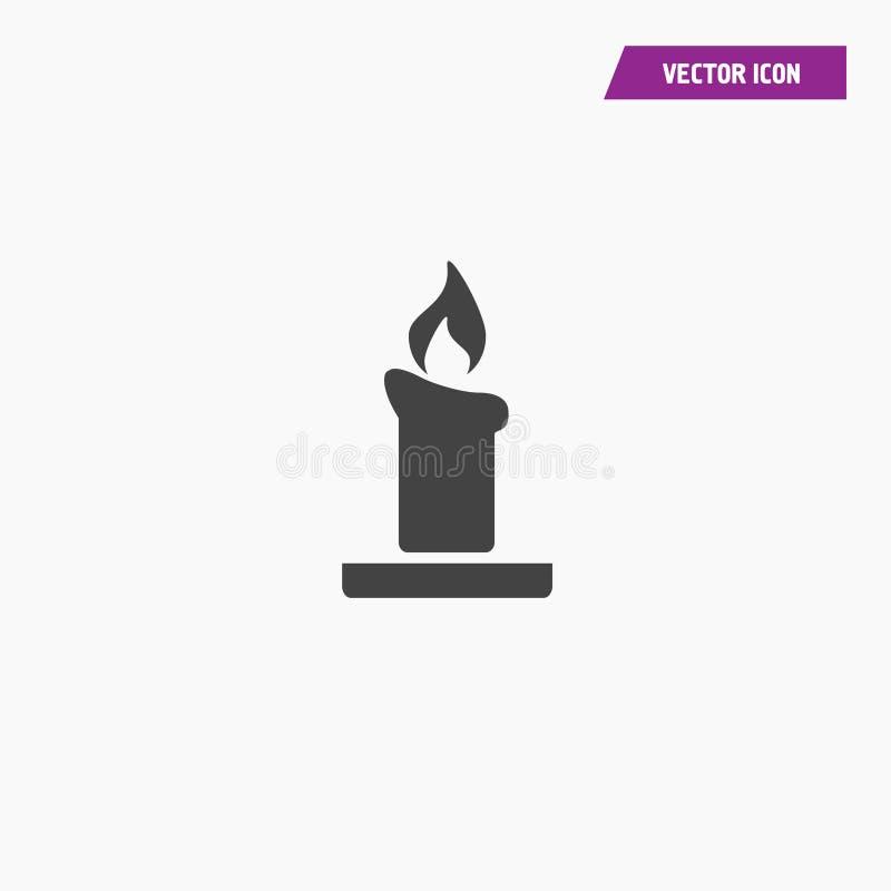 Świeczki światła oparzenie wosku czerni konturu ikona ilustracji