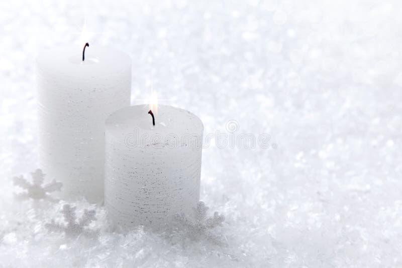 świeczki biel dwa zdjęcie royalty free
