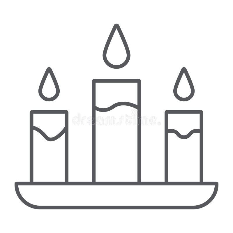 Świeczki cienka kreskowa ikona, ogień i światło, blasku świecy znak, wektorowe grafika, liniowy wzór na białym tle ilustracji