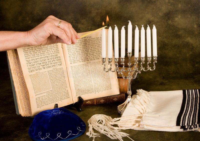 świeczki Hanukkah oświetlenia zdjęcia royalty free