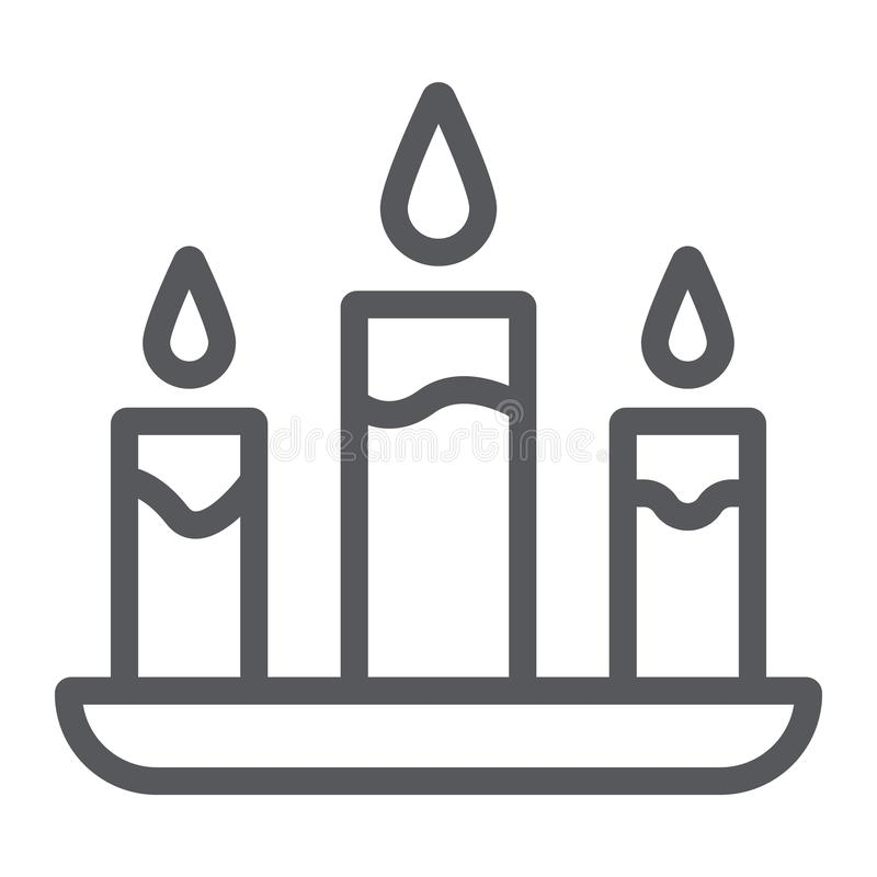 Świeczki kreskowa ikona, ogień i światło, blasku świecy znak, wektorowe grafika, liniowy wzór na białym tle ilustracji