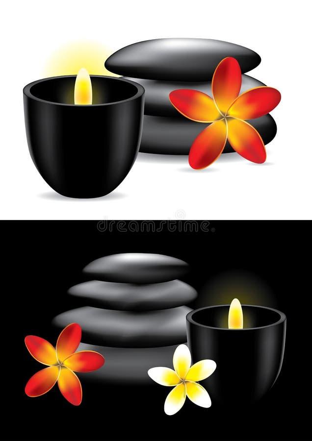 świeczki kwiatu gorący zdroju kamienie royalty ilustracja