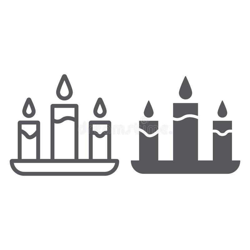 Świeczki linia, glif ikona, ogień i światło, blasku świecy znak, wektorowe grafika, liniowy wzór na białym tle ilustracji