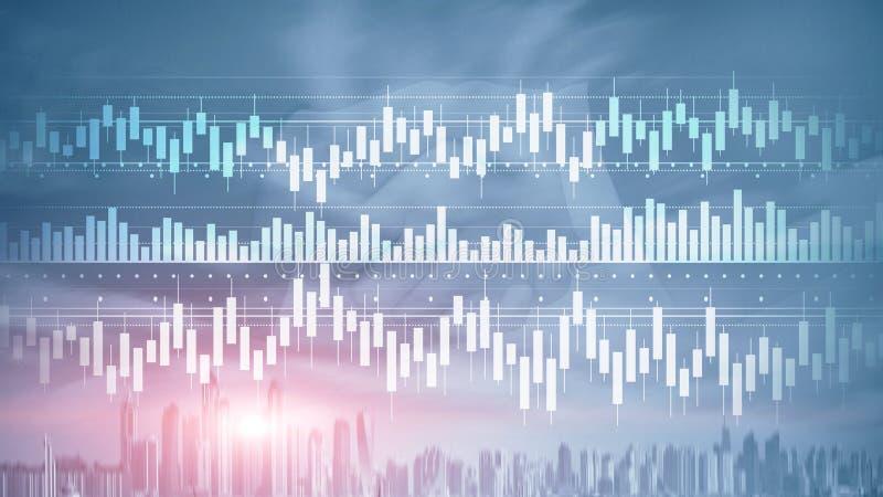 Świeczki mapa diagrama wykresu akcyjnego handlu biznesu finanse inwestorskiego pojęcia mieszali medialnego dwoistego ujawnienia w ilustracja wektor