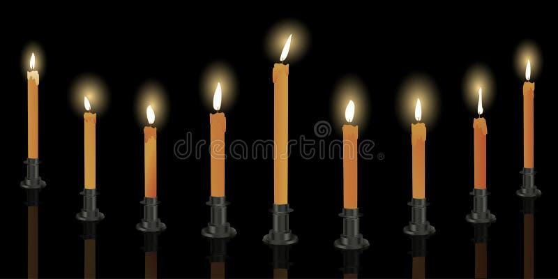 świeczki menorah dziewięć royalty ilustracja