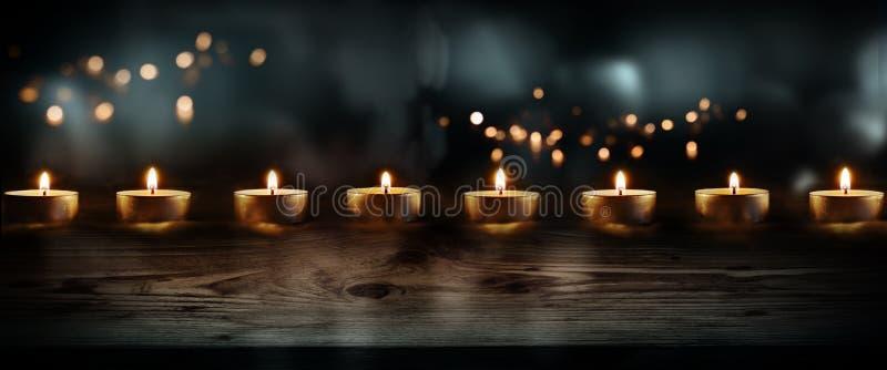 Świeczki na zmroku - błękitny tło obrazy royalty free