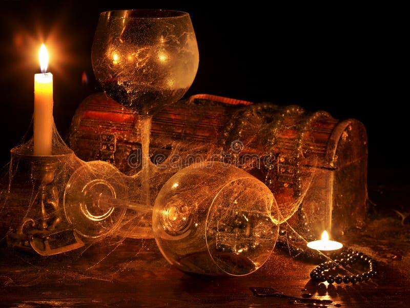 świeczki szkła dwa wino zdjęcia stock