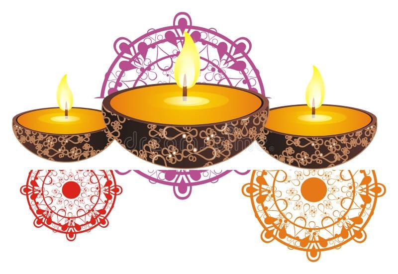 Świeczki z ogieniem i ornamentem India ilustracja wektor