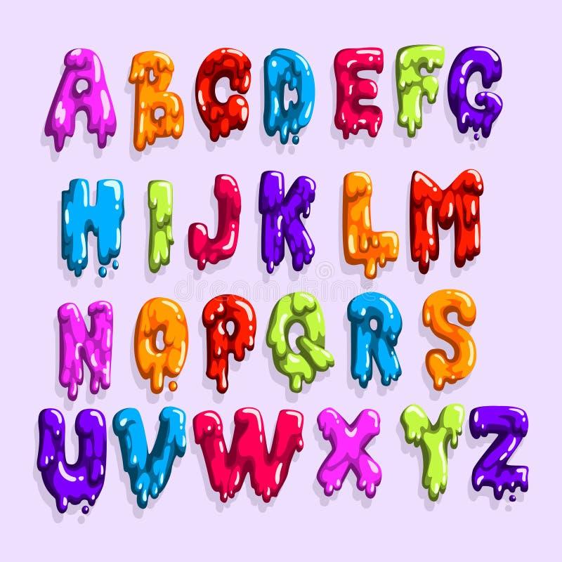 Świetlanobarwny łaciński abecadło robić cukierki dżem lub galareta Angielszczyzna listy od A Z Kreskówki wektorowa chrzcielnica d royalty ilustracja