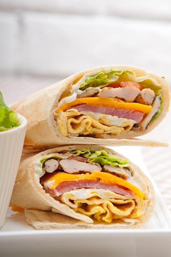 Świetlicowej kanapki pita chlebowa rolka zdjęcie stock