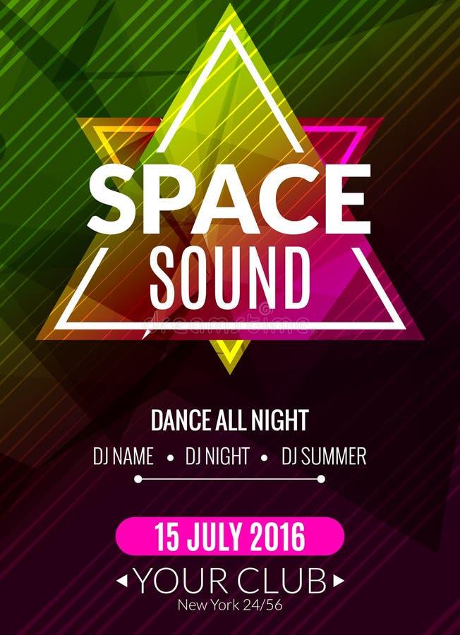 Świetlicowy elektroniczny przestrzeń dźwięka muzyki plakat Muzykalna wydarzenia DJ ulotka Dyskoteka transu dźwięk Nocy przyjęcie ilustracja wektor