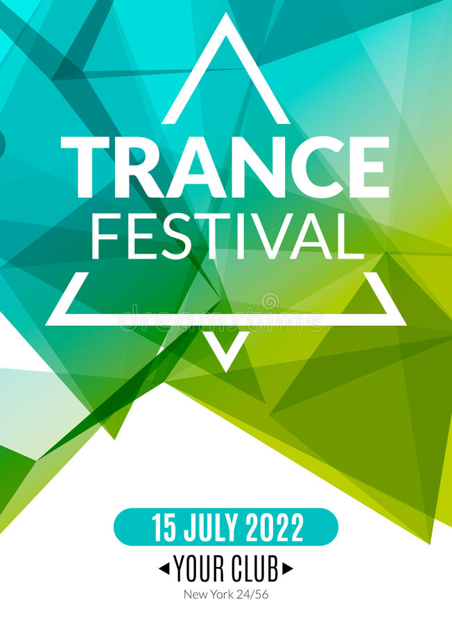 Świetlicowy elektroniczny transu festiwalu muzyki plakat Muzykalna wydarzenia DJ ulotka Dyskoteka transu dźwięk Nocy przyjęcie ilustracja wektor