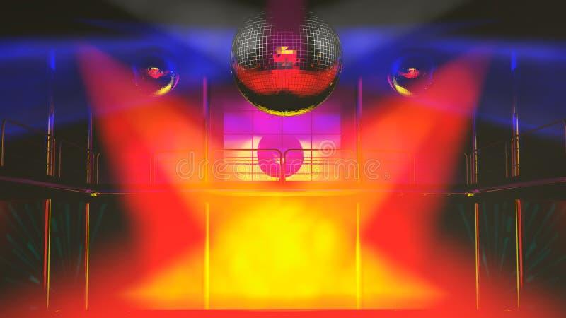 świetlicowy kolorowy discotheque zaświeca noc royalty ilustracja