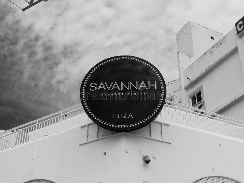 Świetlicowy podpisuje wewnątrz Ibiza fotografia stock