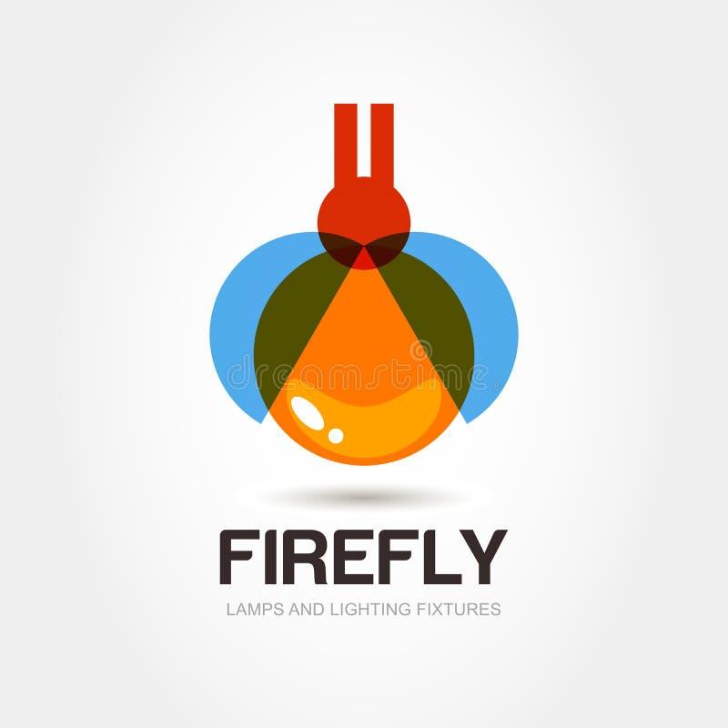 Świetlik pluskwy loga projekta szablon Abstrakcjonistyczna kolorowa lampowa ikona V ilustracji