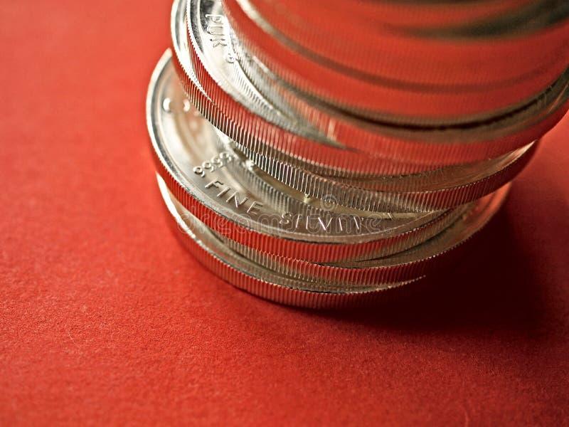 Świetne srebne monety fotografia royalty free