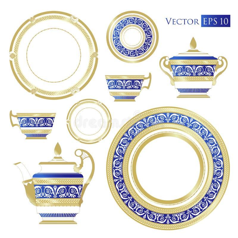 Świetny Chiny - set porcelana ilustracja wektor