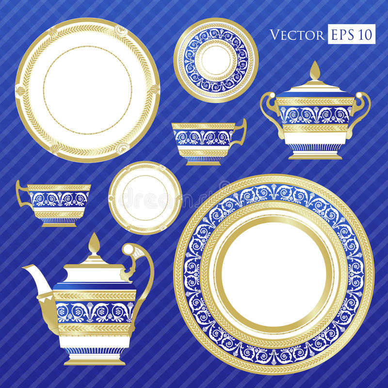 Świetny Chiny - set porcelana royalty ilustracja