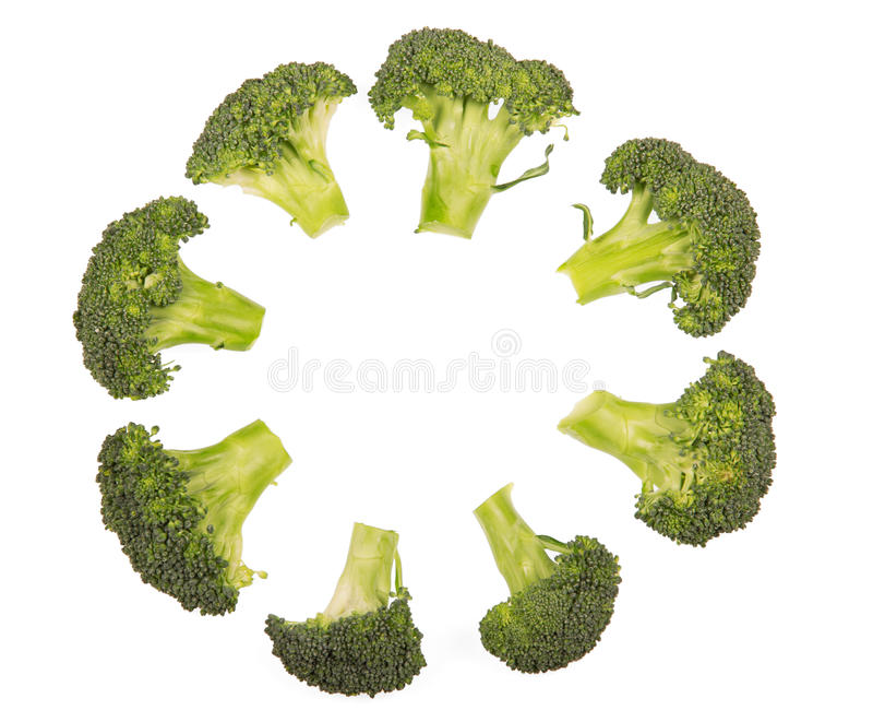 Świezi brokułów florets kłaść out w okręgu odizolowywającym na bielu obraz royalty free