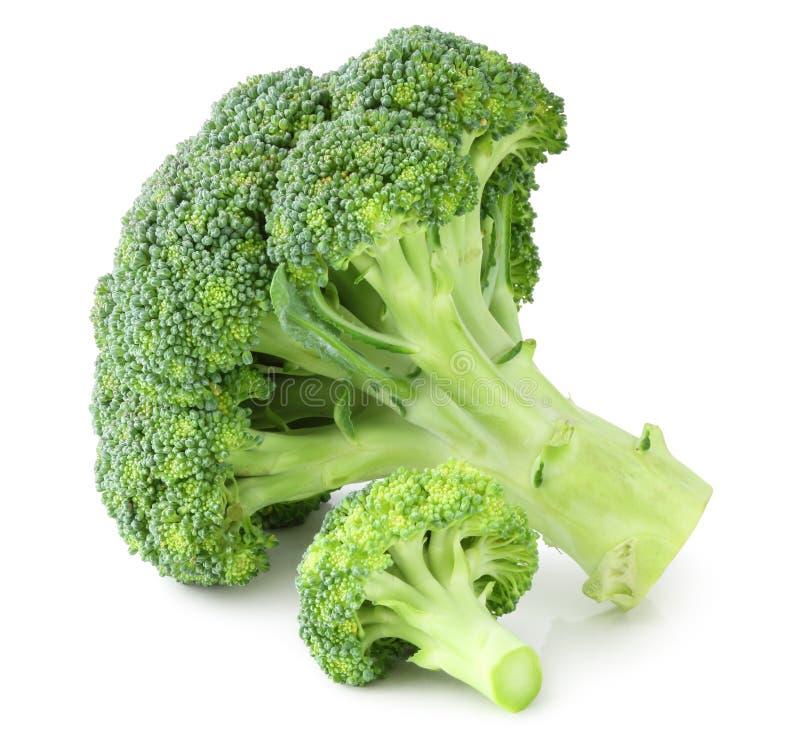 Świezi brokuły odizolowywający na białym tle wliczając ścinek ścieżki, bez cienia zdjęcia stock
