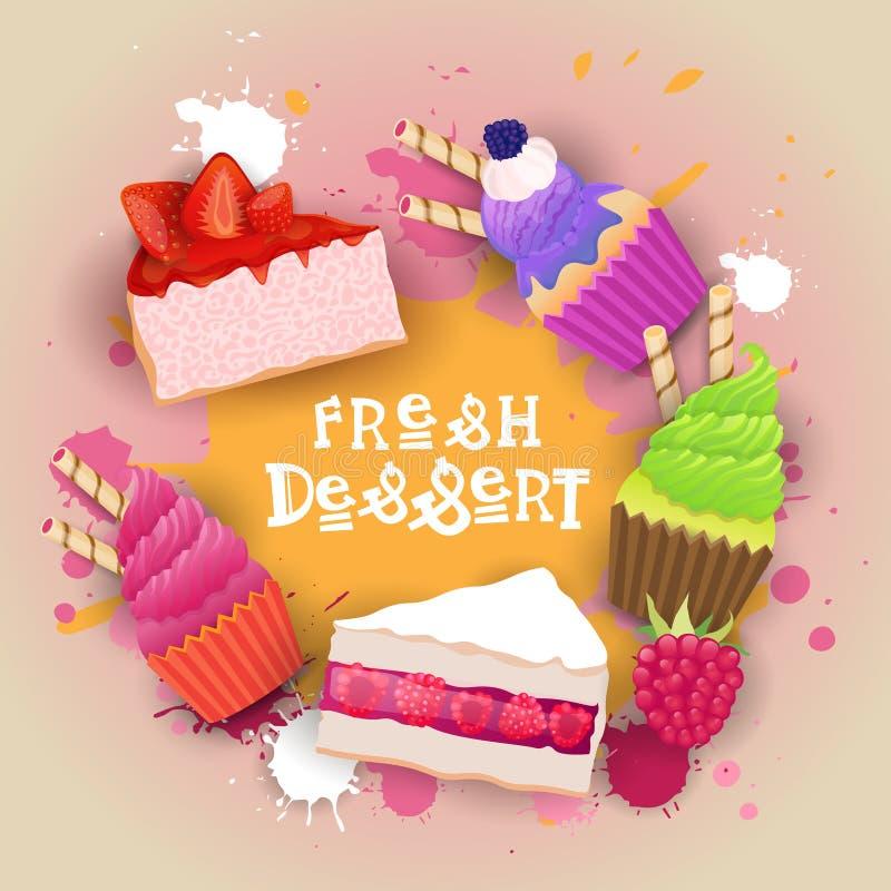 Świezi desery Ustawiają sztandaru Kolorowego Tortowego Słodkiego Pięknego Wyśmienicie Karmowego loga ilustracji