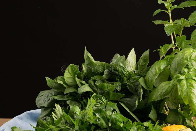 Świezi i aromatyczni ziele na czarnym tle Organicznie, healthful gałąź pietruszka, i basil dla greckiej sałatki zdjęcie stock