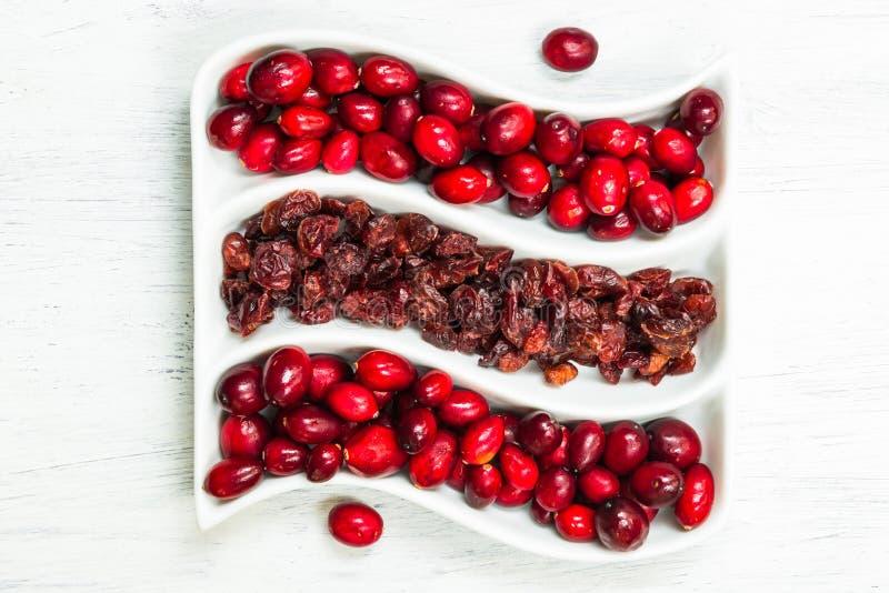 Świezi i wysuszeni cranberries obrazy stock