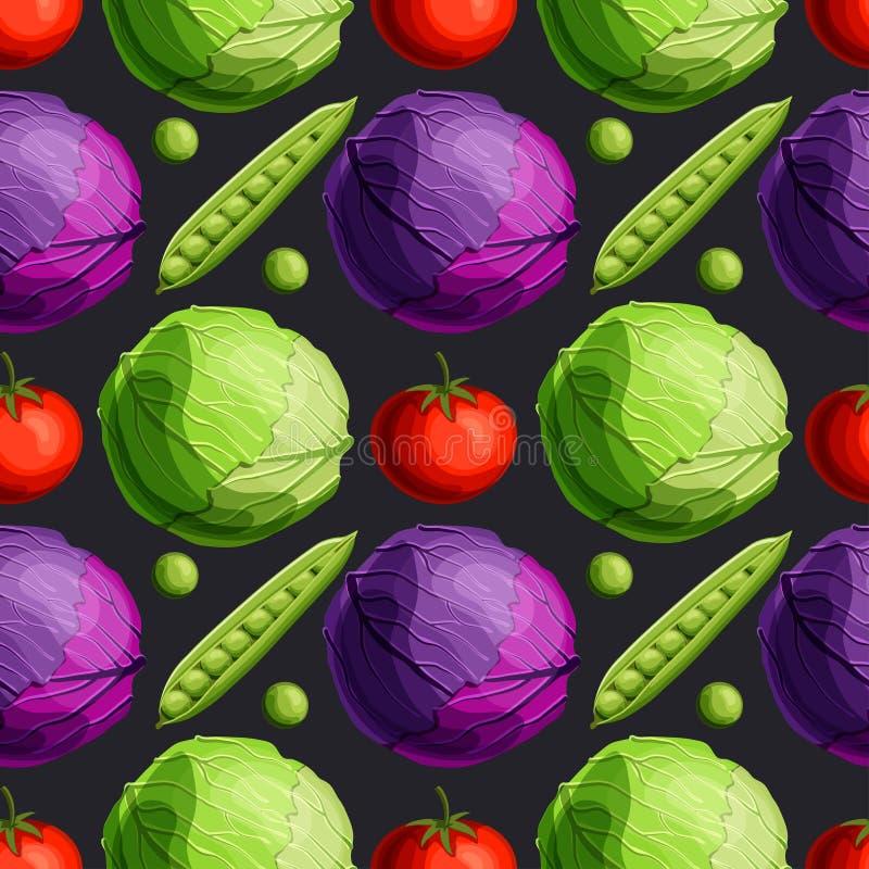 ?wiezi jaskrawi warzywa zieleni i bezszwowy wz?r na czarnym tle czerwonej kapusty, pomidoru i groch?w, royalty ilustracja