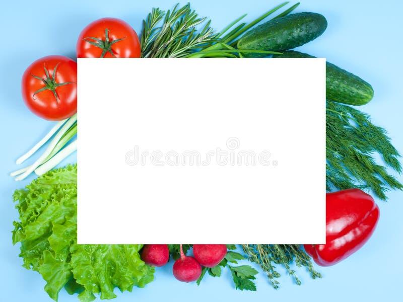 Świezi kolorowi organicznie warzywa chwytali z góry odgórnego widok, mieszkania nieatutowy odosobniony na błękitnym tle Układ z b zdjęcie royalty free