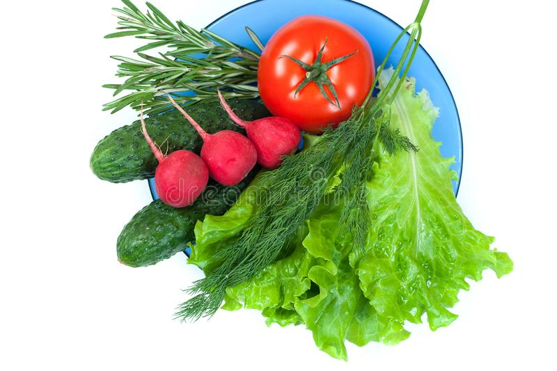 Świezi kolorowi organicznie warzywa chwytali z góry odgórnego widok, mieszkania nieatutowy odosobniony na białym tle Układ z bezp obrazy stock