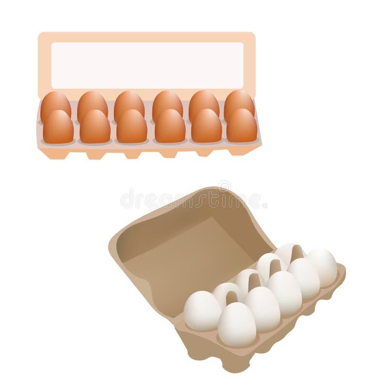 Świezi kurczaków jajka W Pudełkowatym pakunku odizolowywającym Na Białego tła Wektorowej Ilustracyjnej ikonie ilustracja wektor