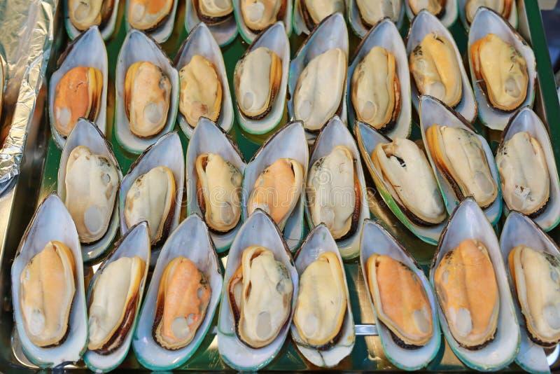 ?wiezi mussels na sprzeda?y przy rynkiem, Tajlandia ulicy jedzenie zdjęcia stock